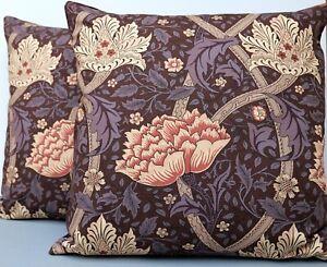 Large Vintage William Morris Cushion Cover Windrush Aubergine & Velvet 54 x 54cm