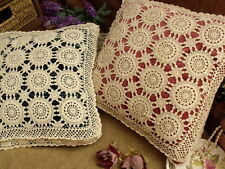 "PAIR TWO~VICTORIAN~Vtg HAND Crochet lace Pillow Cushion Covers Ecru M~Pretty 14"""