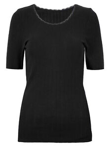 New M&S Collection Ladies Black S/S Thermal Lacy Pointelle Vest/Top  Cosy 10-22