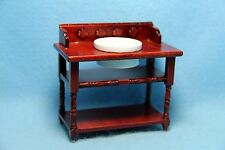 Dollhouse Miniature Wood Wash Stand with Bowl Mahogany Stain ~WF141