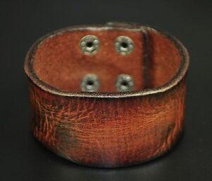 Mens Vintage Biker 3mm Thick Wide Real Leather Belt Wrap Bracelet Wristband Cuff
