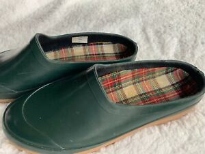 Lands End Green Rubber Rain Clogs Water Resistant Slip On - Womens Size 6