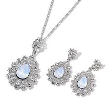 """Simulated Moonstone Necklace Size 20""""+3"""" With Stud Earrings In Silver Tone"""