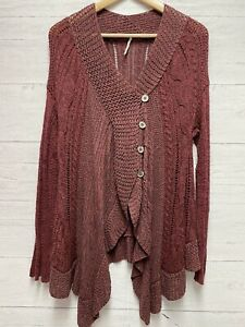 Free People Red Burgandy Button Front XS Cardigan Sweater