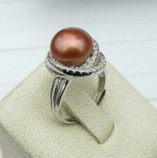 Top Quality  AAAA South Sea 11-12mmChocolate Pearl Silver Ring Size Adjusted