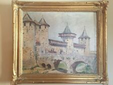 French Oil Painting Medieval  Castle  Carcassonne  Raymond Desvarreux 1876-1961