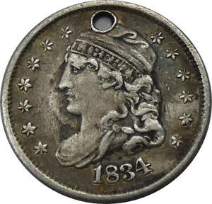 1834 Capped Bust Half Dime Love Token Engraved H E  - b