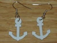 Cute White Wooden Anchor Charm Earrings