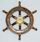 """12"""" Nautical Wooden Ship Steering Wheel Decor Wood With Brass Inlay"""