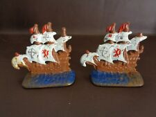 Vintage Cast Iron 1928 Pirate Galleon Bookends Painted (Cat.#2B045)
