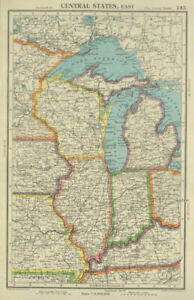 MIDWEST USA. WI Michigan Illinois Indiana. Great Lakes. BARTHOLOMEW 1947 map