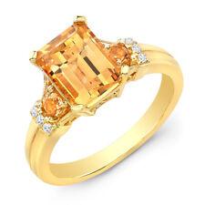 14k Yellow Gold Emerald Cut Citrine Diamond Three Stone Ring Natural 2.45 TCW