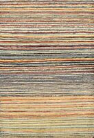 Striped Gabbeh Kashkoli Oriental Area Rug Modern Wool Hand-knotted 3x4 Carpet