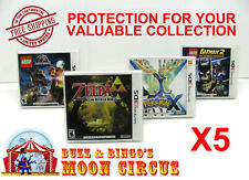 5x NINTENDO 3DS CIB GAME BOX - CLEAR PROTECTIVE BOX PROTECTOR SLEEVE CASE