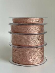 1m Rose Dusty Pink Metallic Gold Glitter Lame Ribbon Wedding Xmas Bow Tree Gift
