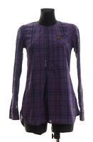 G-Star RAW DENIM Women's Purple checked long sleeved Shirt Top Tunic Size Small