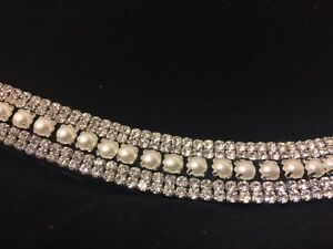 BLINGY DIAMANTÉ CLEAR CRYSTAL & PEARL 5 ROW CURVED  BROWBAND BLACK LEATHER S-Xl