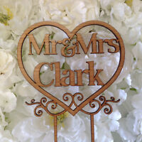Personalised Wedding Cake Topper Mr&Mrs Surname Custom Made Decoration wooden #4