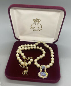 Clarion-Pell Princess Faux Pearl Rhinestone Pendant Necklace