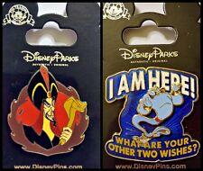 """Disney Parks 2 Pin Lot Jafar Aladdin Villain + Genie """"I am here"""" pins"""