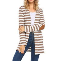 US Women Striped Long Cardigan Coat Long Sleeve Trendy Loose Sweater Jacket