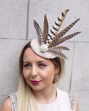 Cream Beige Brown Pheasant Feather Pillbox Hat Fascinator Hair Clip Vintage 2790
