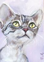 ACEO Kitten Cat kitty kitten Devon Rex Tiger animal original painting mini art