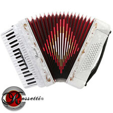 NEW ROSSETTI PIANO ACCORDION 72 BASS 34 KEYS 5 SWITCHES WHITE R3472-WH + CASE