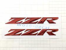 New Raised 3D Chrome Kawasaki ZZR 1400 1200 08-09 Emblem Red Decal Bling Sticker