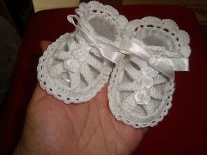 Newborn Baby Girls Shoes Booties Sandals Handmade Crochet White Cotton 0-3 m