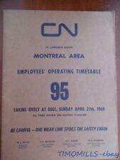 1969 Canadian National Railways Employee Timetable 95 St.Lawrence Reg. Montreal