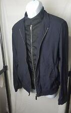 PRADA Mens 52 Nylon Jacket Designer Light Coat Navy Blue Zip Bomber Art. SGH140