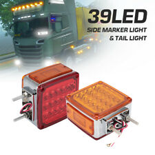 2XSquare 39LED Dual Face Stud Mount Pedestal Cab Fender Turn Signal Lights Truck