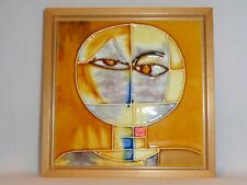 Vtg Mid century Atomic Modern Cubist Abstract Man Pottery Wall Art Space Age