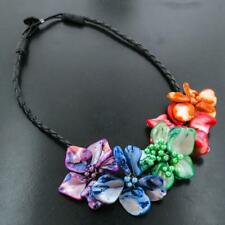 MIXED COLORS FLOWER MOTHER OF PEARL SHELL necklace