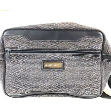 Vintage Members Only Tweed & Vegan Leather Carry On Overnight Bag Gray 80s Retro