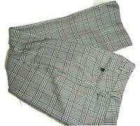 Calvin Klein Women Dress Pants Modern Fit Wide-Leg Size 2 Black-White Checkered