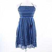 Blue black striped 100% cotton ANTHROPOLOGIE ANNA SUI halter neck sun dress 0
