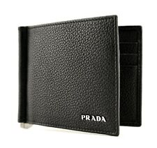 Prada Wallet Card Holder Leather Bi-Fold Money Clip Black New