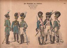 1880 Chromo Fashion print of 1800's German military uniforms