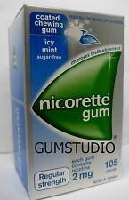 Nicorette Nicotine Gum 1 Box 2mg ICY MINT 105 Pcs Teeth Whitening FRESH