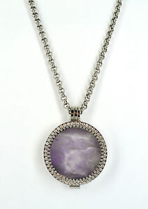 NEW MI STERLINA MILANO NECKLACE/INTERCHANGABLE/PENDANT/HOLDER/AMETHYST/GIFT