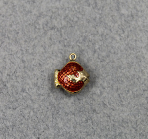 14K Yellow Gold Red Enameled Fish Charm or Pendant