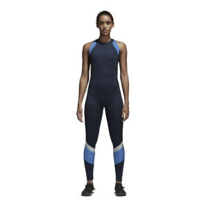 adidas Womens Wanderlust Yoga Jumpsuit Blue Sports Breathable Lightweight