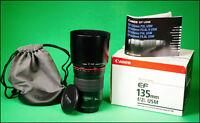 Canon EF 135mm F2 L USM Autofocus Telephoto Prime Lens With Both Caps,Hood & Box