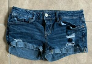 Aéropostale Blue Distressed Medium Wash Jean Mid-Rise Shorts Women's Juniors 4