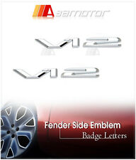 2x V12 Chrome Side Emblem Letters Badge Decal Letter for Mercedes Benz S SL AMG