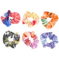 Women Sweet Velvet Scrunchies Tie-Dye Gradient Ponytail Hair Rope Sports Bands