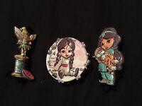 X3 Disney Animators Mystery Pin Badges Tinkerbell Jasmine Mulan Series 2 New