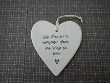 East of India Porcelain Heart - Life Takes You to Unexpected Places Love Brings